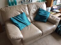 Furniture Village Pebble Brown 2 Seat Leather Sofa Suite
