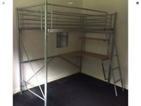 Metal single bunk bed with desk
