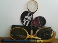 VINTAGE. TWO TENNIS RACKETS, ONE SQUASH RACKET, HOCKEY STICK AND HOLDALL.