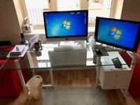 Stylish Glass-Top Office Desk & Draws