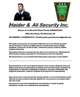 We Supply security guard, we are based in Montreal