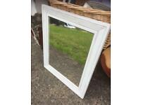 WHITE CHALK PAINTED DISTRESSED MIRROR