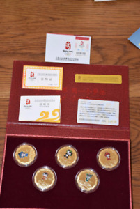 Limited Edition Beijing Olympics mascot gold plated medallions