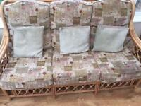Conservatory wicker sofa chairs and table set
