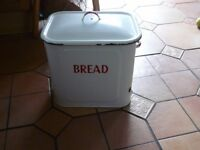 RETRO ENAMEL BREAD BIN, Steel with full size steel lid. excellent patina.