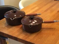 Beautiful brown Le Creuset saucepans in excellent condition
