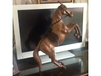 Leather Rearing horse figurine 22 inches high