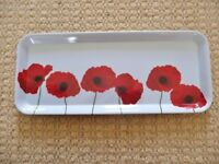 Poppy Design Red White Plastic Rectangular Canape / Starter / Party Snacks / Sandwich Tray Platter