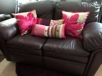 RECLINING LEATHER SOFA AND ARMCHAIR