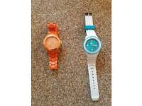 ice watch's white with rubber strap and orange with clip