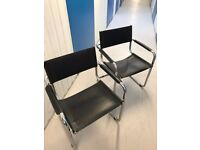 MG5 Dining Chairs in chrome & black leather