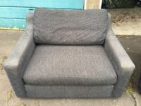 Black/grey 2 seater sofa and cuddle chair