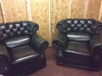 LEATHER CHAIRS ANTIQUE GREEN £350 For them both