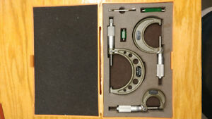 "Mitutoyo 3 Micrometer Machinist Tool Set .0001"" For Lathe Millin"