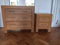 Solid Oak Chest of drawers and matching bedside table