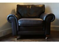 Stylish Oakloft brand brown leather 3x Seater Sofa & Armchair.VGC- no rips.Good neck/back support.