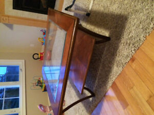 Coffee table - solid wood with glass top