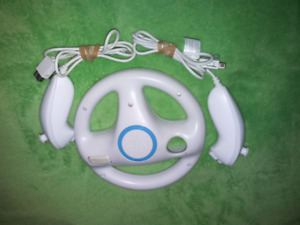 For sale Nintendo wii nunchucks and wii wheel bundle all for $13