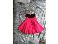 BNWT Bershka colour block coral pink & black strapless skater dress L 12