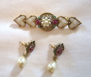 Victorian Style Pin and Earrings with Hair Comb