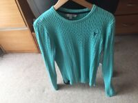 Ladies Crew Clothing green 100% cotton jumper size 14