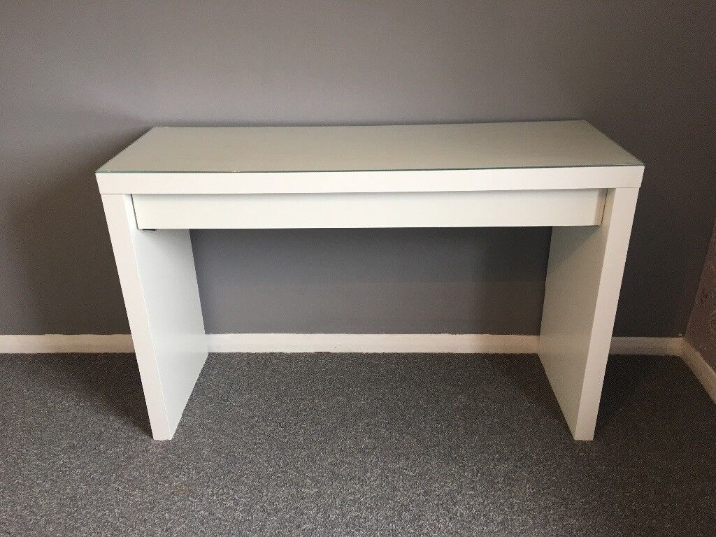 Glass dressing table - White Ikea Dressing Table Glass Top With Draw And Chair