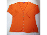 Monsoon Orange Women's V-neck Raglan ¾ Length Sleeve Cardigan. Size 12. £5 ovno.