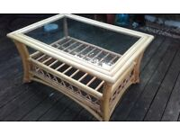 2 BAMBOO GLASS TOP TABLES IDEAL FOR CONSERVATORY OR PATIO 1 SQUARE 1 OBLONG EX COND