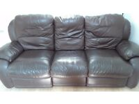 Leather 3 Seat Recliner and 2 Seat Sofa - BROWN