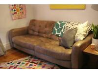 Italian Leather Plum 4 Seater Sofa