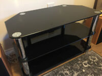 Black Glass TV / Entertainment Stand
