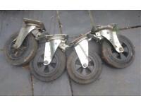 2 pairs industrial castors/trolley wheels