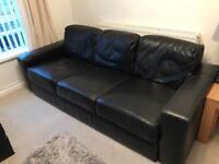 Black Real Leather Sofa (2 piece)