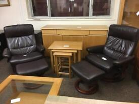 Pair of Stressless brown leather chairs & stools * free furniture delivery*