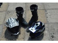 motorcycle helmets and boots