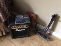 Marshal MG10 Guitar Amp, Digitech RP80 effects pedal (boxed), Quicklock guitar stand