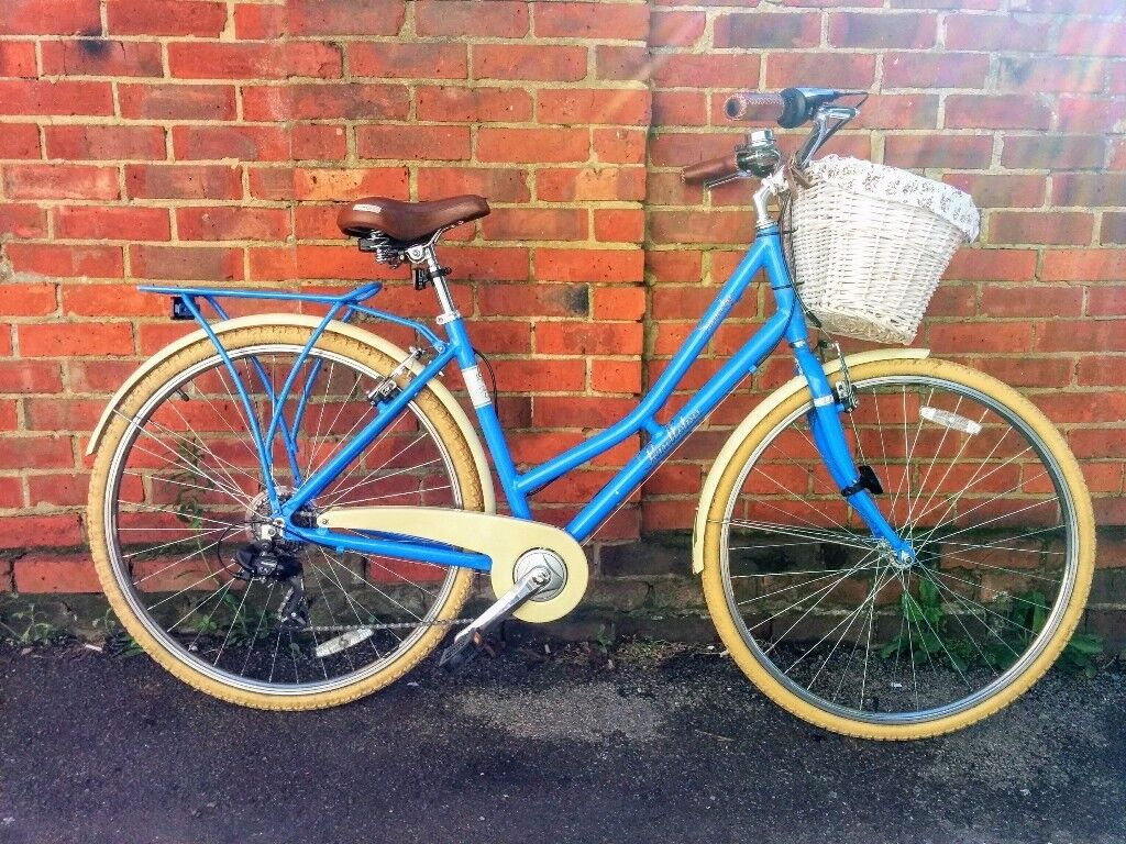 Blue 19Somerby ladys bikein Portsmouth, HampshireGumtree - Amazing ladies 19`` bike with white wooden basket and Orla Kiely sprung saddle, big wheels and pretty color. Only had 1 owner, taken good care of! Comes with documents. Add Bicycle Wireless Taillight Cycling Alarm Bike Light (on the picture with...