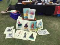 Vintage fashion laminated cards within portfolio case
