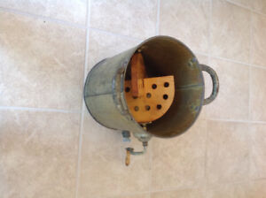 Antique butter churner,  wooden tool box on wheels