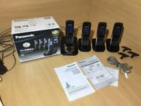 4X Panasonic Cordless Home Phone With Answering Machine & Box In Excellent Condition