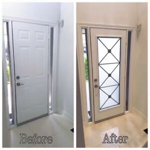 Wrought Iron & Decorative Glass Insert Installation