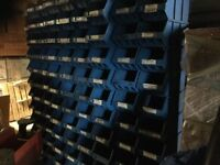 Parts bins,galvanised,stacking,handles,racks, also used plastic maxi./parts bins ,trolleys to suit