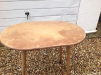Old oval ply wood table