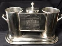 French Large Silver Plate Engraved Chenas Beaujaolois Champagne Wine Ice Cooler