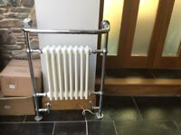 Central heating and electrical chrome towel rail with central radiator cream