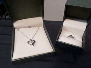 Silver necklace and ring for sale