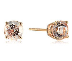 10k Rose Gold Morganite Stud Earrings