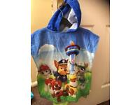 Paw Patrol poncho swimming beach towel kid child excellent condition