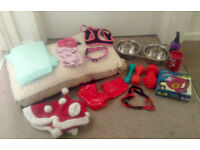 PUPPY DOG STARTER BUNDLE - MEMORY FOAM DOG BED, BOWLS, RETRACTABLE LEAD, HARNESS, COLLAR, TOY, COAT