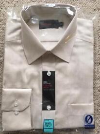 "Brand new stone coloured M&S non-iron 15 1/2"" neck shirt"